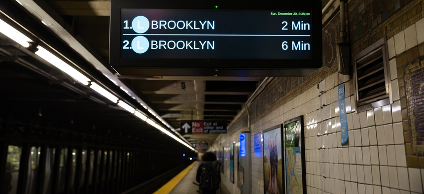 L train subway service connects Brooklyn and Manhattan in New York City.