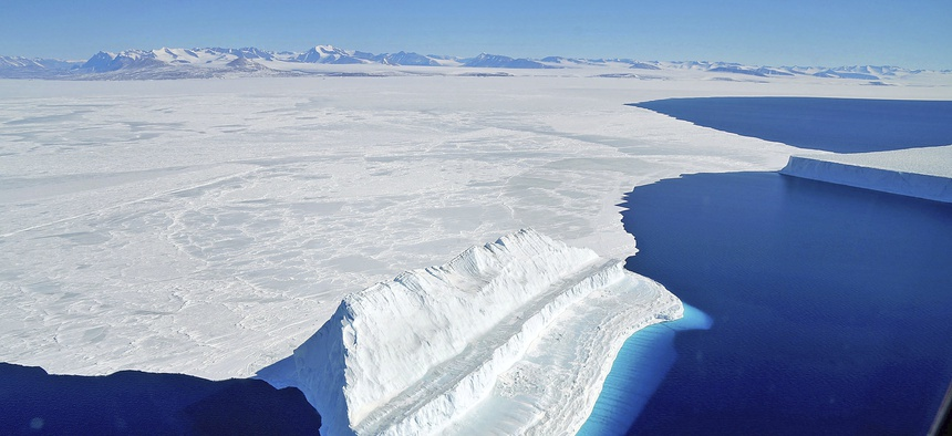 The frigid Antarctic region is an expanse of white ice and blue waters, as pictured in March, 2017, at the U.S. research facility McMurdo Station.
