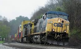 In this March 6, 2018 photo, CSX locomotive number 325 leads an intermodal freight train through Emerson, Ga.