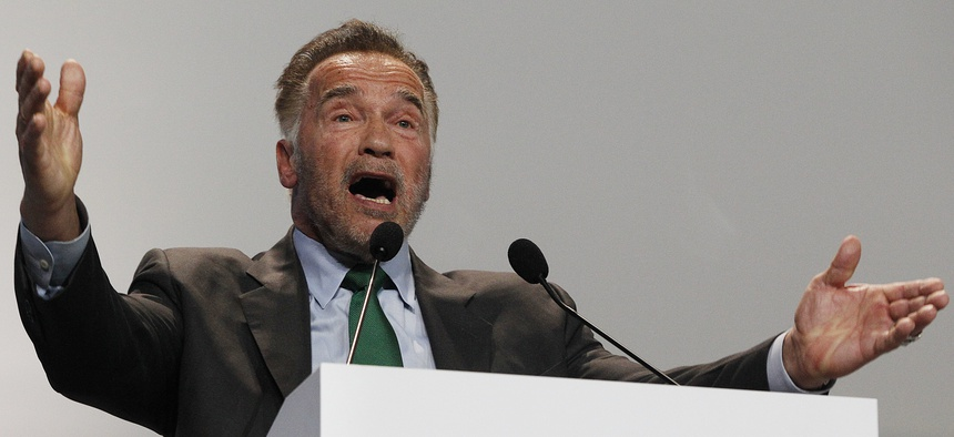 Former California Gov. Arnold Schwarzenegger delivers a speech during the opening of COP24 UN Climate Change Conference 2018 in Katowice, Poland, on Dec. 3, 2018.