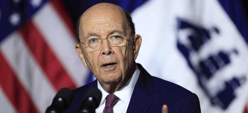 In this July 16, 2018, file photo, Department of Commerce Secretary Wilbur Ross speaks to employees of the Department of Commerce in Washington.