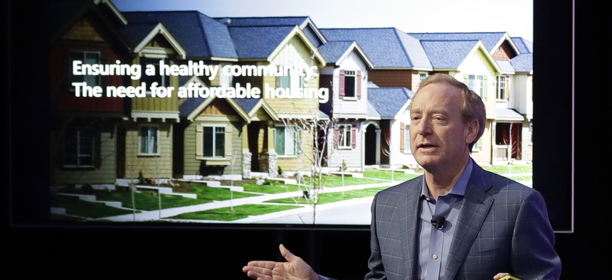 Microsoft Corp. President Brad Smith speaks Thursday, Jan. 17, 2019, during a news conference in Bellevue, Wash., to announce a $500 million pledge to develop affordable housing.