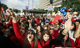 Educators rally as a strike against the Los Angeles Unified School District entered its fifth day outside City Hall in Los Angeles Friday, Jan. 18, 2019.