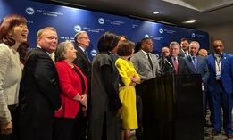 Columbia, South Carolina Mayor Steve Banjamin speaks to press at the U.S. Conference of Mayors winter meeting Wednesday in Washington, D.C.