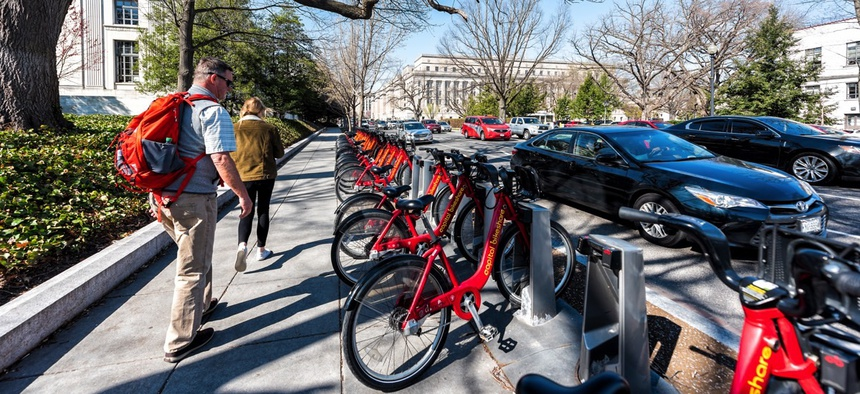 A Capital Bikeshare station in Washington, D.C.