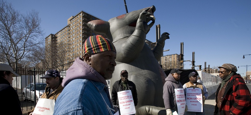 An Ironworkers union picket line featuring Scabby the Rat outside a construction site in Brooklyn, New York City in 2009.