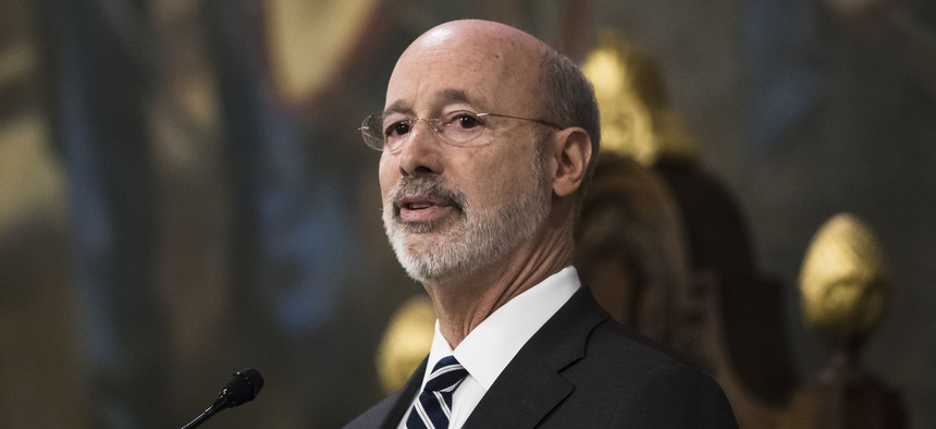 Democratic Gov. Tom Wolf delivers his budget address for the 2019-20 fiscal year to a joint session of the Pennsylvania House and Senate in Harrisburg, Pa., on Feb. 5, 2019.