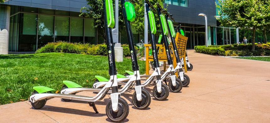 Lime scooters in Mountain View, California.