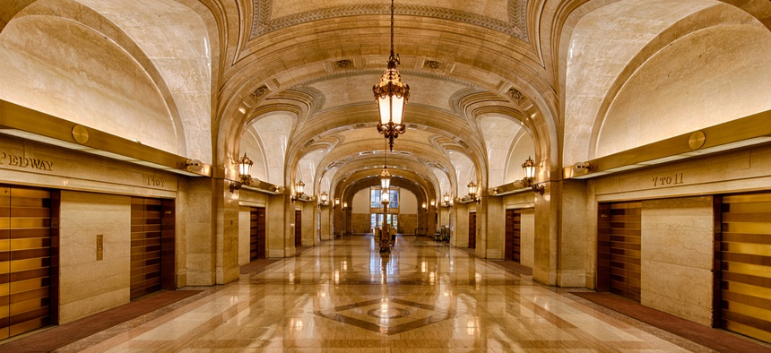 Lobby of the Chicago City Hall.
