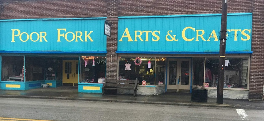 Poor Fork Arts & Crafts in Cumberland, Kentucky, sells Appalachian handcrafted and vintage items. The store is on a stretch of Main Street that includes empty storefronts, vacant lots and boarded-up spaces.
