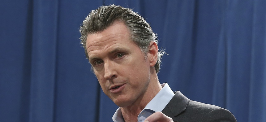 In this Feb. 11, 2019 file photo Calif. Gov. Gavin Newsom answers questions at a Capitol news conference, in Sacramento, Calif.