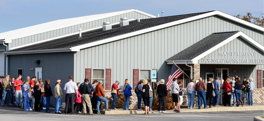 A line to cast their ballots in the 2016 United States Presidential Election in Mount Pleasant Township, Adams County, Pennsylvania.