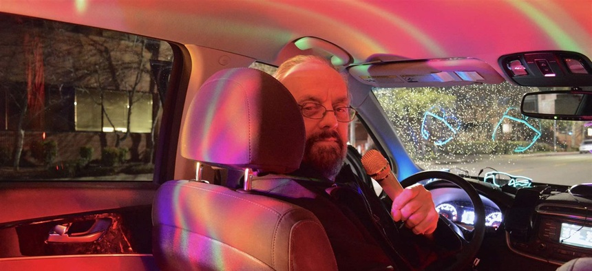 Daniel Flannery incorporated LED lights, disco balls and a Bluetooth karaoke microphone into the car he drives for Lyft and Uber, giving riders a unique experience.
