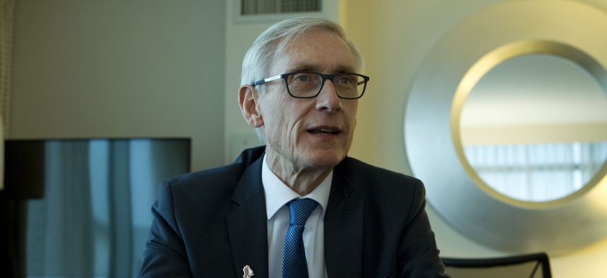Wisconsin Gov. Tony Evers speaks during an interview during the National Governors Association 2019 winter meeting in Washington, D.C. on Feb. 23, 2019.