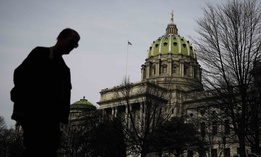 The dome of the Pennsylvania Capitol is visible in Harrisburg, Pa.