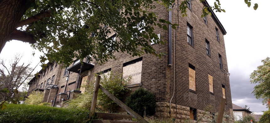 A dilapidated apartment complex in Pittsburgh, which had been shut down by the county health department, in 2014.