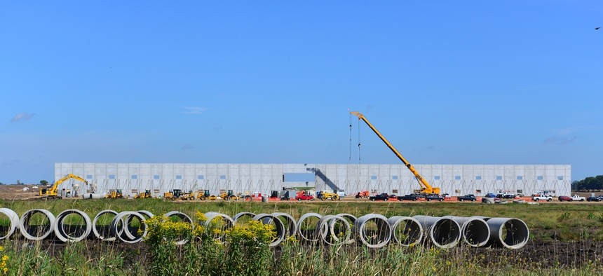 Work continues in September 2018 on the Foxconn industrial campus in Mount Pleasant, Wisconsin.