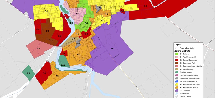 The zoning map for the village of Canton, New York.