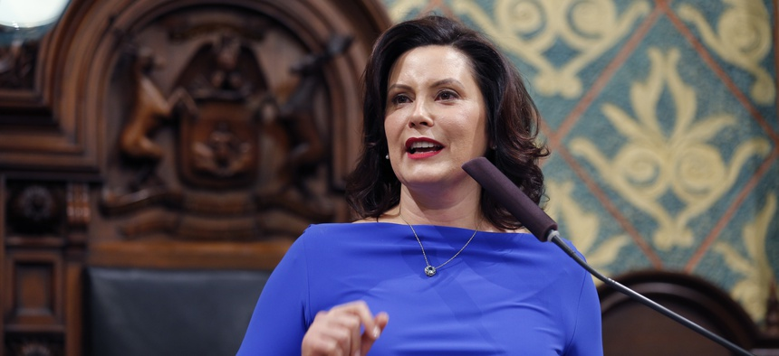Michigan Gov. Gretchen Whitmer delivers her State of the State address to a joint session of the House and Senate, Tuesday, Feb. 12, 2019.