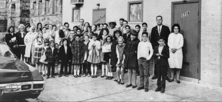 Members of East Baltimore Church of God, which was founded by Lumbee Indians, on the 1700 block of E. Baltimore Street.