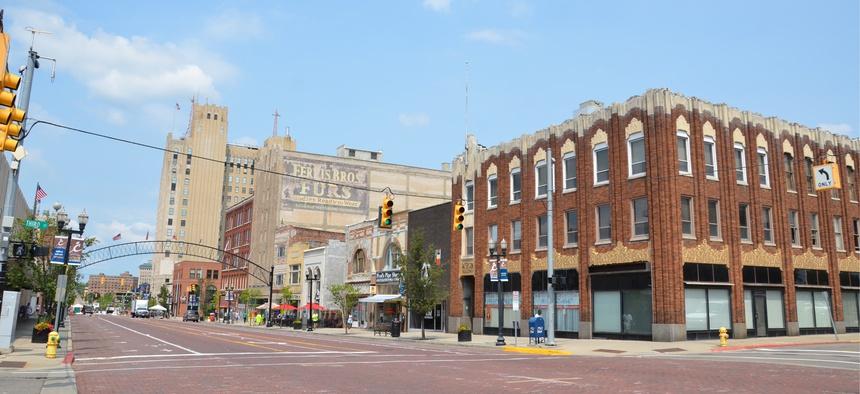 Downtown in Flint, Michigan.