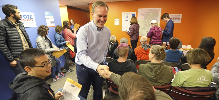 Then-Salt Lake County Mayor Ben McAdams, a Democrat, at a get-out-the-vote rally ahead of the 2018 midterm elections, which propelled Utah to the nation's largest growth in turnout and elected McAdams to the U.S. Congress.