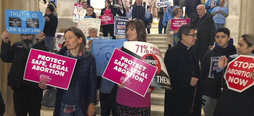 Protesters spar over abortion rights.