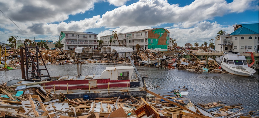 Destruction in the Florida panhandle following Hurricane Michael in 2018.