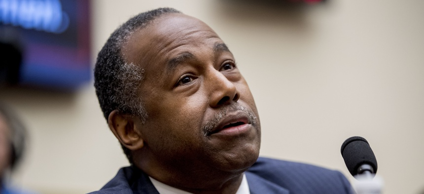 Housing and Urban Development Secretary Ben Carson testifies at a House Financial Services Committee oversight hearing on Capitol Hill in Washington on May 21, 2019.