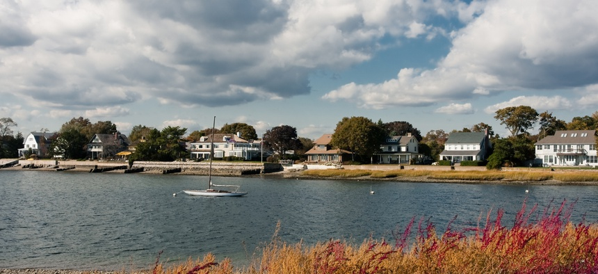 Homes along the coastline in Westport, Connecticut.