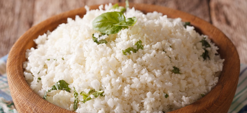 A bowl of cauliflower rice.