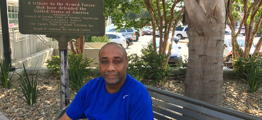 Retired Army veteran Everett Brockington sits outside the Ralph H. Johnson VA Medical Center in Charleston, South Carolina. He says most veterans he knows who are struggling with suicidal thoughts are not receiving mental health care.