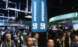 A sign advertises 5G devices at the Intel booth during CES International, Tuesday, Jan. 9, 2018, in Las Vegas.