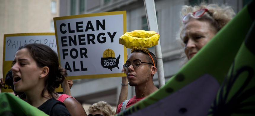 A march in Philadelphia against the gas plant.