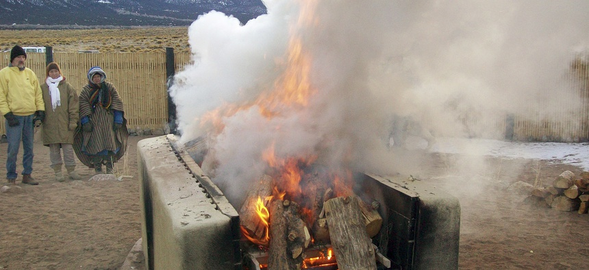 The lone public open-air funeral pyre in the United States is in Crestone, Colorado, and is available for use only by county residents and landowners.