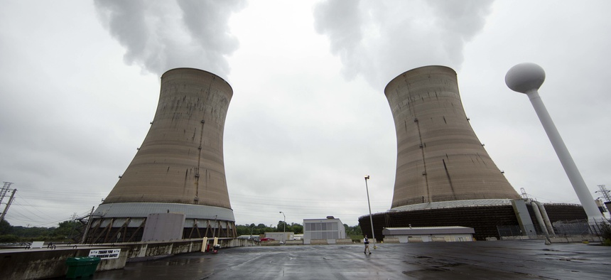 Cooling towers at the Three Mile Island nuclear power plant in Middletown, Pa., Monday, May 22, 2017.