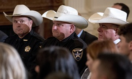 Sheriffs attend an event to salute U.S. Immigration and Customs Enforcement (ICE) officers at the White House in 2018.