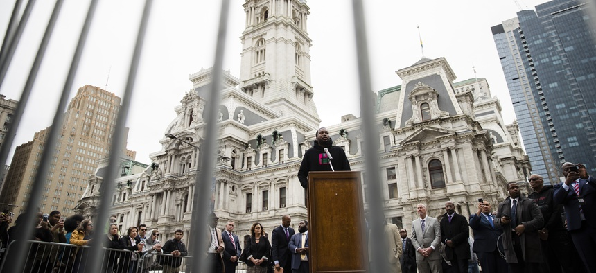 Rapper Meek Mill speaks in favor of changing Pennsylvania's probation system in April. In 2017, Mill served five months for violating probation in a nearly decade-old gun and drug case.
