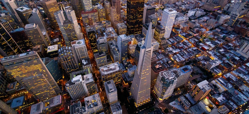 A view of downtown San Francisco. The metro area that includes the city has seen jobs become more dense, or concentrated, in recent years.