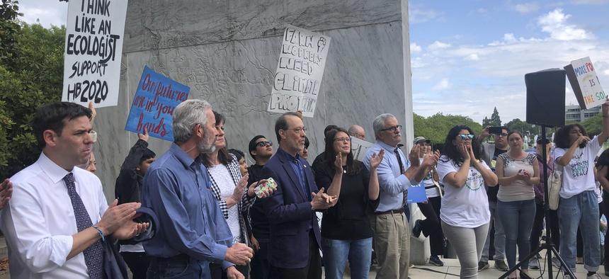 Protestors at the Oregon legislature.
