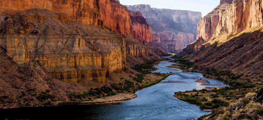 The Colorado River also winds through the Grand Canyon.