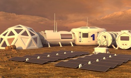 An illustration of what a Mars colony could look like.