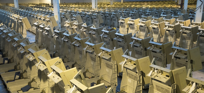 In Philadelphia, a collection of voting machines assembled ahead of the 2016 election.