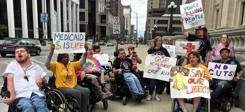 A protest against cuts to Medicaid.