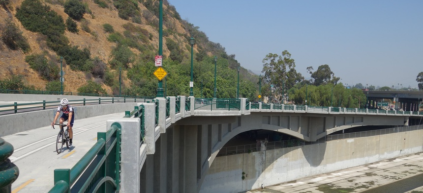 The Los Angeles River Bike Path northern terminus at Confluence Park.