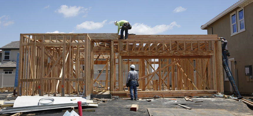 Construction on a home in a housing development in Elk Grove, Calif.