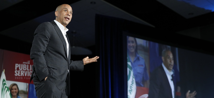 Democratic presidential candidate Sen. Cory Booker, D-N.J., speaks during a public employees union candidate forum Saturday, Aug. 3, 2019, in Las Vegas.