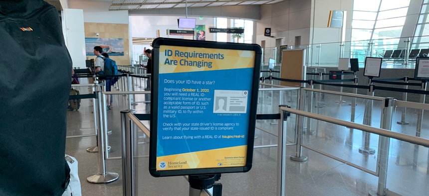 A REAL-ID warning about travel changes in the San Diego airport.