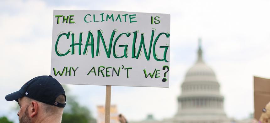 A protestor in Washington, D.C.