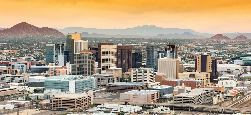 A view of Phoenix, where voters in an Aug. 27, 2019 election rejected a ballot measure that would have capped city spending and pushed money toward the city's pension system.